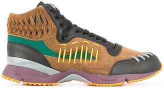 Kolor woven details hi-top sneakers