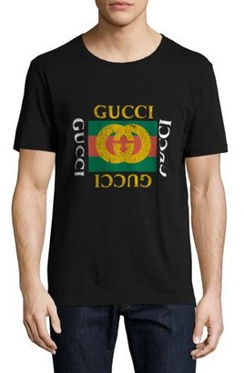 Gucci Washed T-Shirt w/GG Print, Black $420 thestylecure.com