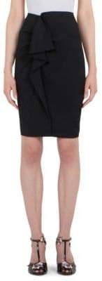 Carven Ruffle-Front Pencil Skirt