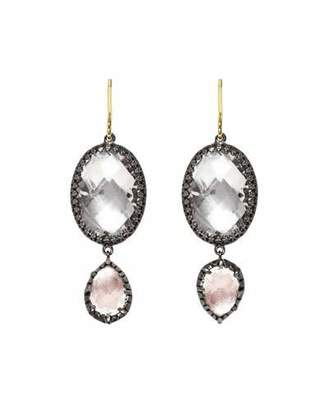 Larkspur & Hawk Sadie Double-Drop Earrings in Ballet & White Foil