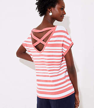 LOFT Petite Striped Criss Cross Back Dolman Sweater