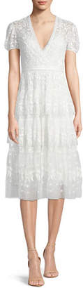 Needle & Thread Layered Cap-Sleeve Lace Midi Cocktail Dress