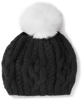 Eugenia Kim Genevieve Pompom-embellished Cable-knit Baby Alpaca Beret - Black