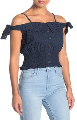 KENDALL + KYLIE Kendall & Kylie Broderie Anglaise Eyelet Lace Crop Tank