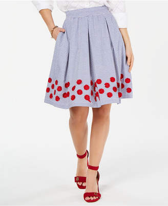 Tommy Hilfiger Cotton Striped Applique Skirt