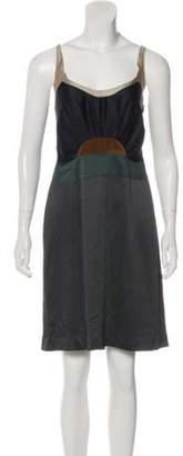 Miu Miu Pleated Knee-Length Dress Multicolor Pleated Knee-Length Dress