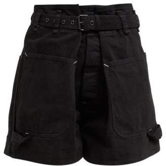 Isabel Marant Ike Paperbag Waist Belted Cotton Shorts - Womens - Black