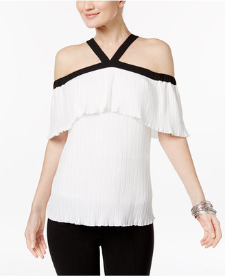 INC International Concepts Ruffled Cold-Shoulder Top, Only at Macy's $69.50 thestylecure.com
