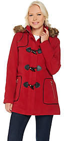 C. Wonder Faux Wool Zip Front Coat with ToggleDetail
