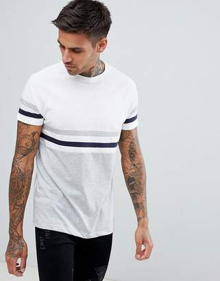 Asos DESIGN t-shirt with contrast body and sleeve stripes in white