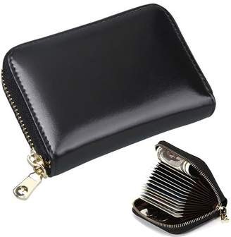 JEEBURYEE Women's RFID Blocking Genuine Leather Credit Card Holder Zip Around Accordion Card Organizer Wallet Coin Purse Purple
