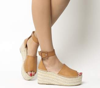 Office Montage Flatform Two Part Wedges Tan Leather