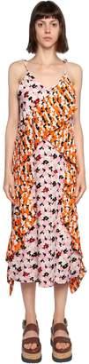 Kenzo Jackie Floral Printed Plisse Crepe Dress