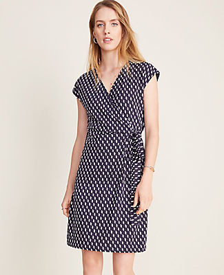 Ann Taylor Petite Dashed Matte Jersey Wrap Dress
