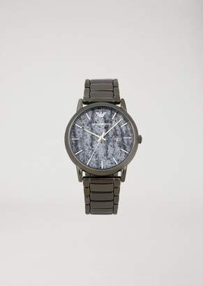 Emporio Armani Watch With Marble-Effect Dial And Three-Chain Strap