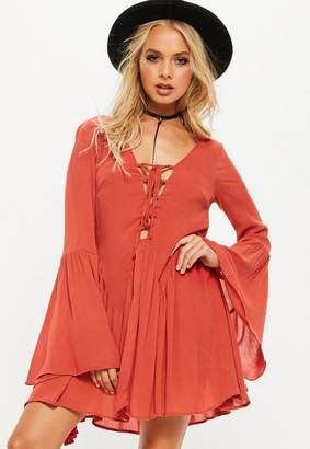 Missguided Tall Orange Cheesecloth Lace Up Frill Dress