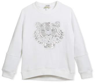 Kenzo Drop-Shoulder Sweatshirt w/ Metallic Tiger Face, White, Size 14-16