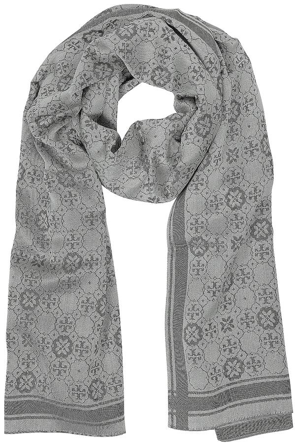 Tory BurchTory Burch The Traveler Double-T Logo Mosaic Jacquard Silk-Wool Blend Stole