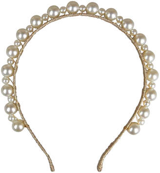 Morgan & Taylor Gold Lurex Headband With Small/Large Pearl