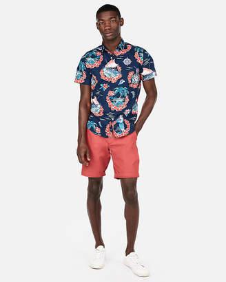 Express Palm Floral Short Sleeve Shirt
