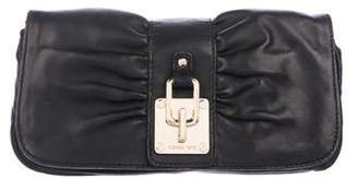 MICHAEL Michael Kors Lock-Embellished Ruched Clutch