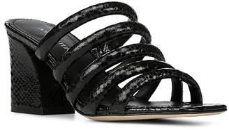 Donald J Pliner Women's Wes Snake Embossed Leather Block Heel Slide Sandals