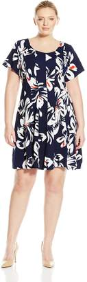 Robbie Bee Women's Plus-Size Cap Sleeve Dress, Navy/Coral