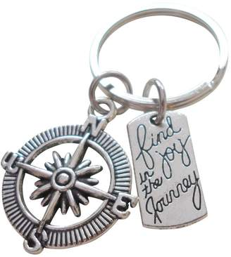 JewelryEveryday Find Joy in the Journey Open Compass Keychain - Graduation Gift Keychain