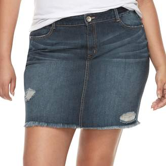 Juniors' Plus Size Rewash Distressed Dark Wash Mini Jean Skirt