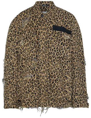 R13 - Abu Distressed Leopard-print Cotton-canvas Jacket - Leopard print