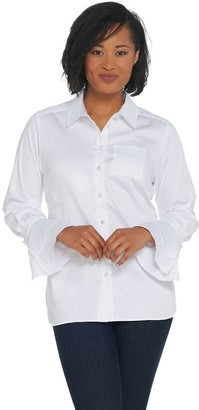 Belle By Kim Gravel Belle by Kim Gravel Ruffled Sleeve Shirt with Pearl Buttons