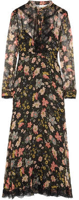 REDValentino - Ruffled Floral-print Silk-chiffon Midi Dress - Black $1,320 thestylecure.com