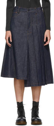 Y's Ys Indigo Asymmetric Pleated Denim Skirt