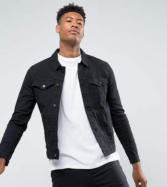 Asos DESIGN tall skinny denim jacket in black