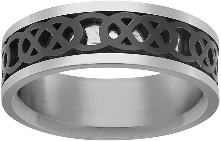 Celtic SheepskinBlack Ion-Plated Stainless Steel & Stainless Steel Celtic Knot Spinner Band