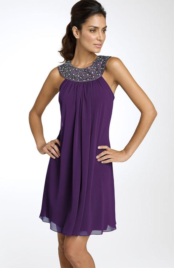 JS Boutique Beaded Chiffon Trapeze Dress