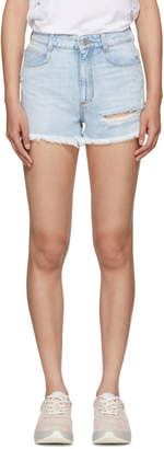 Stella McCartney Blue Distressed Denim Shorts