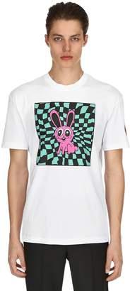 McQ Acid Bunny Printed Cotton Jersey T Shirt