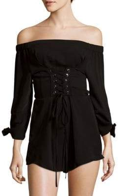 Off-The-Shoulder Corset Romper