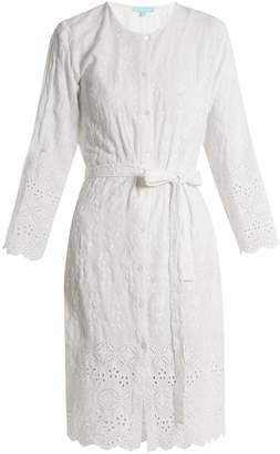 Melissa Odabash Cecilia embroidered collarless shirtdress