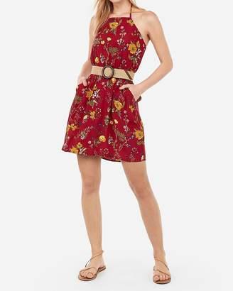 Express Floral Print High Neck Elastic Waist Halter Dress
