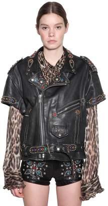 R 13 Short Sleeve Studded Leather Jacket