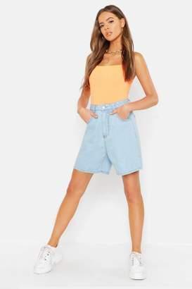 boohoo High Waist Longer Length Rigid Mom Shorts