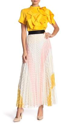 Gracia Colorblocked Lace Pleated Skirt