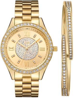 JBW Women's Mondrian Diamond Accent & Crystal Stainless Steel Watch & Bracelet Set
