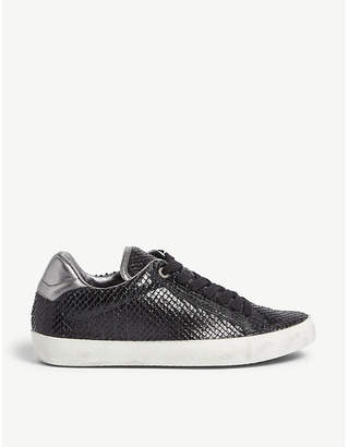 Zadig & Voltaire Neo Keith reptile-embossed leather trainers