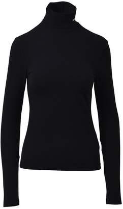 Calvin Klein Black Cotton Jersey Turtleneck