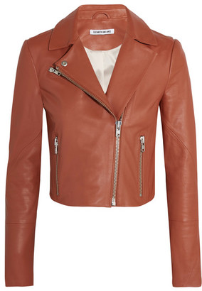 Elizabeth and James - Gigi Cropped Leather Biker Jacket - Camel $995 thestylecure.com