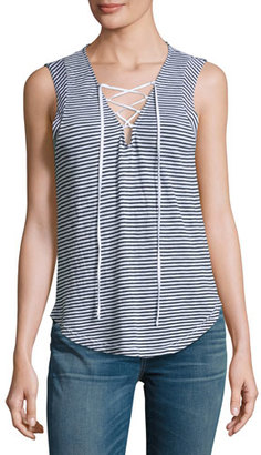 Splendid Taft Point Mini-Stripe Lace-Up Tank Top, White $78 thestylecure.com