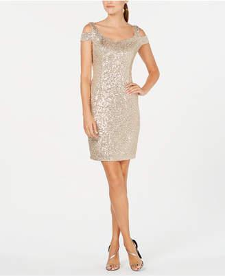 Calvin Klein Sequin Cold-Shoulder Dress